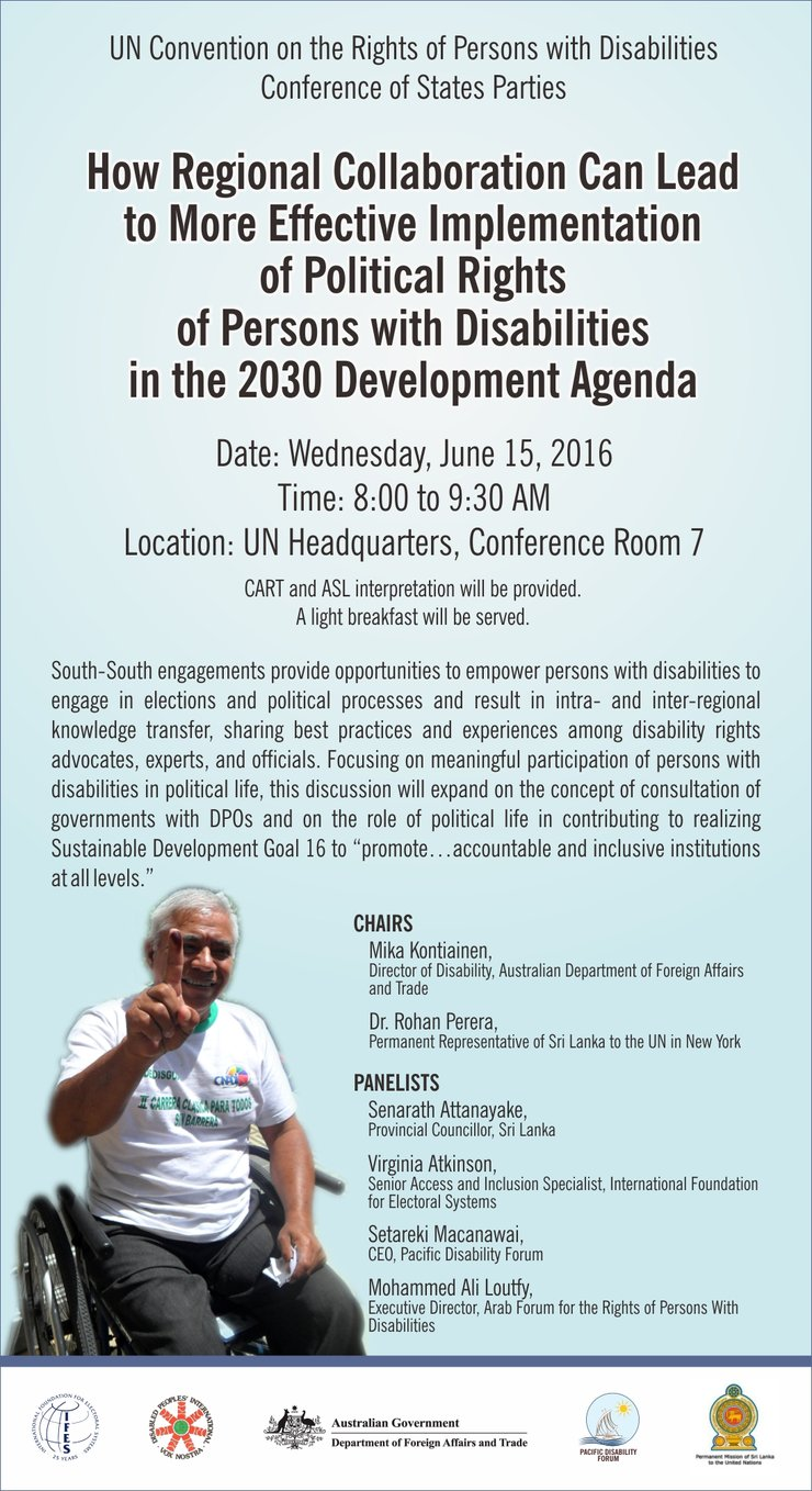 Information on the side event with a man who uses a wheelchair and has indelible ink on his finger