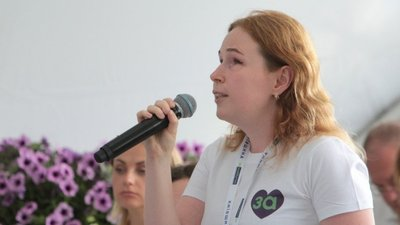 Leonida Ponomaryova speaks during one of the public events, organized by the political party, For the Future, in Kyiv in August 2020.