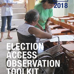 Cover shows a man using a wheelchair voting and a woman holding a clipboard