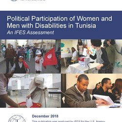 Cover of the Tunisia report shows a woman using a walker casting a ballot