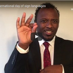 A man signs in Ethiopian Sign Language
