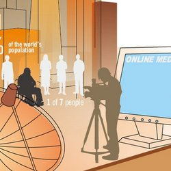 An illustration shows a journalist filming a person using a wheelchair