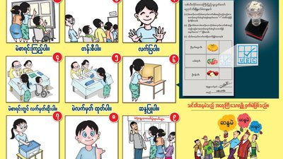 A series of cartoons shows a person picking up a ballot, marking it, and casting the ballot. There is writing in Myanmar