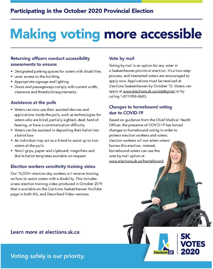 Poster describing actions ESK has taken to make voting more accessible during the October 2020 provincial election.