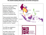 A colorful map of the ASEAN region and the CRPD logo.
