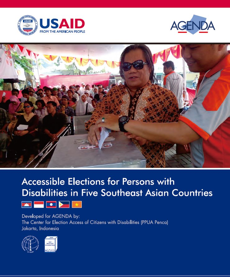 The front cover shows a woman wearing glasses. She is in front of a ballot box underneath a tent and is casting her vote.