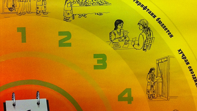 The poster shows 6 steps of voting at a polling station. The first step, waiting in line, shows one man using a cane.