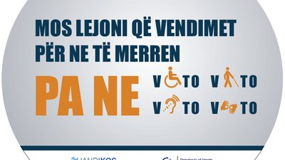 A round flyer encourages persons with physical, visual and auditory disabilities to vote.