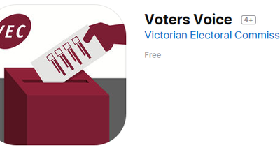 "Graphic of hand placing vote into ballot box with text ""Voters Voice"""
