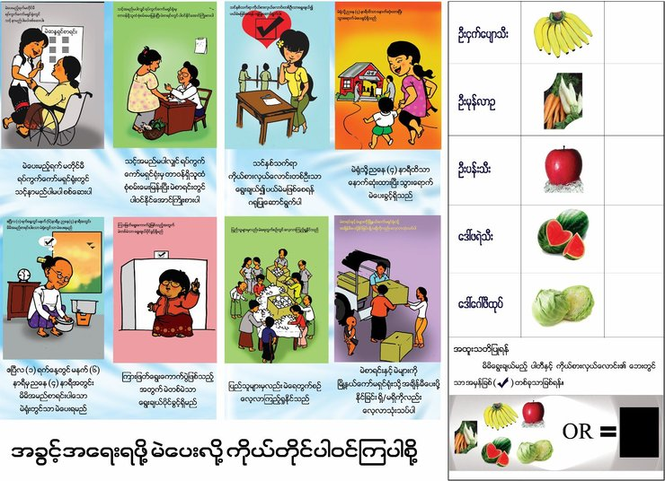 On the left are two rows of 4 illustrations each, showing women supporting elections (including a wheelchair user). On the right is a practice ballot using five different fruits as candidates.