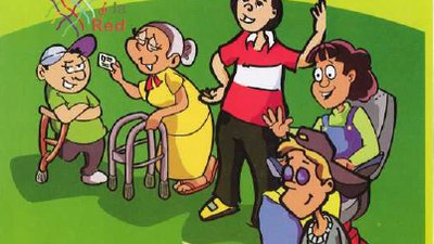 The cover shows a line of persons with disabilities waiting to vote. The men and women have different types of disabilities (physical, intellectual, visual).