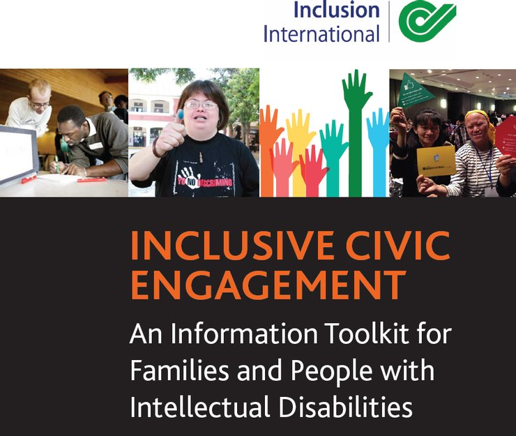 The cover has different photos of persons with intellectual disabilities voting