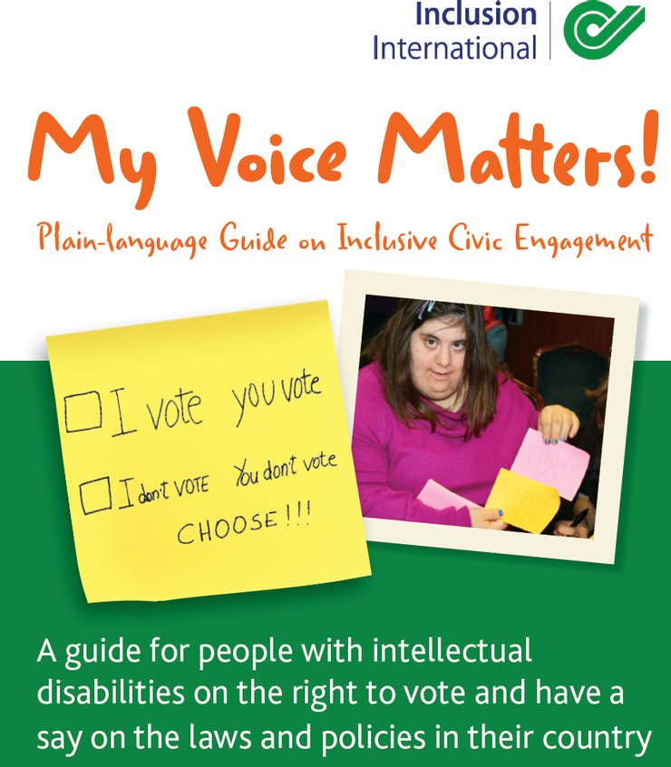 Cover of the English toolkit; a woman with Down syndrome smiles