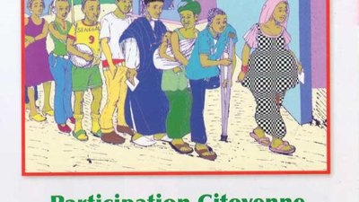 The front cover shows an image of a line of voters waiting to vote, including a man using crutches.