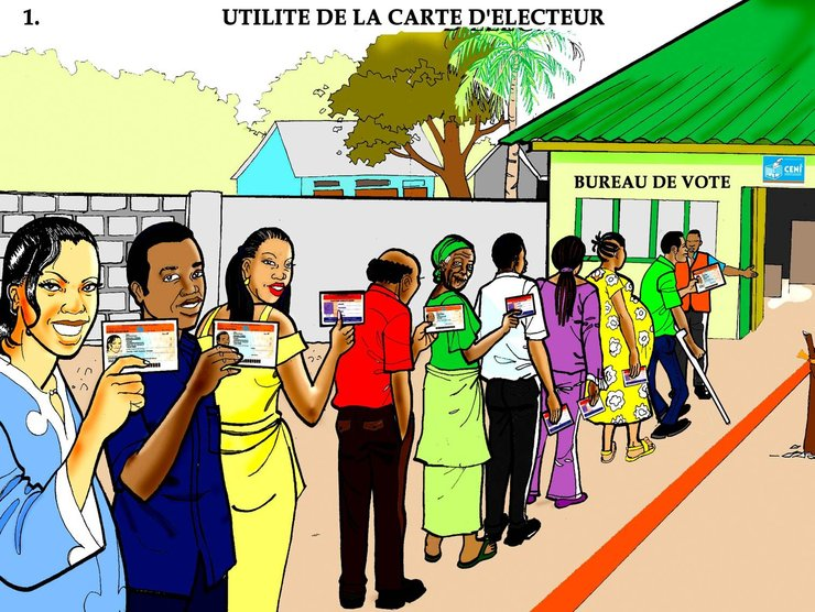 An illustrated poster shows a line of people waiting outside of a polling station in a rural area. The line includes women, pregnant women, older people, and a person using crutches.