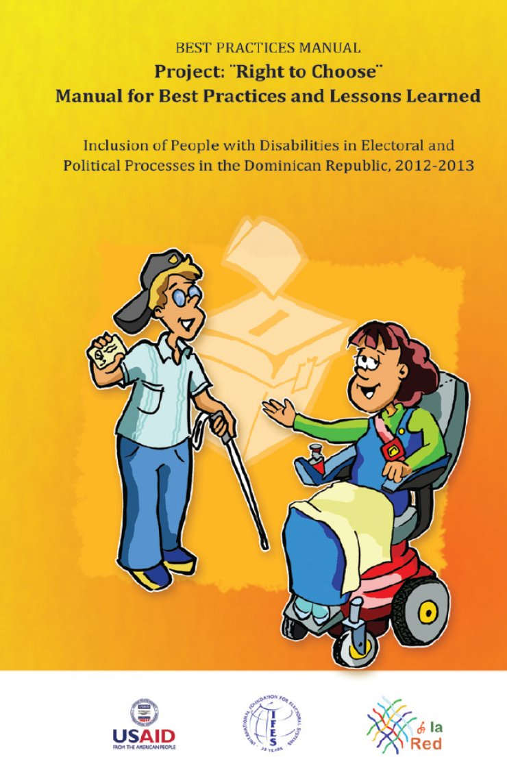There is a bright orange background. In the front is a young man with sunglasses and a cane, and a young woman using a power wheelchair.
