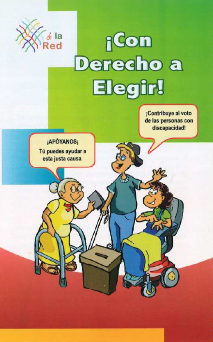 Three people are drawn in the middle of the cover. To the right is a young woman using a wheelchair. In the middle is a young man using a cane and waving hello. On the left is an older woman wearing glasses and using a walker while she casts her vote.
