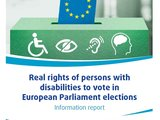 Cover of the report includes ballot of EU flag cast into ballot box with disability symbols