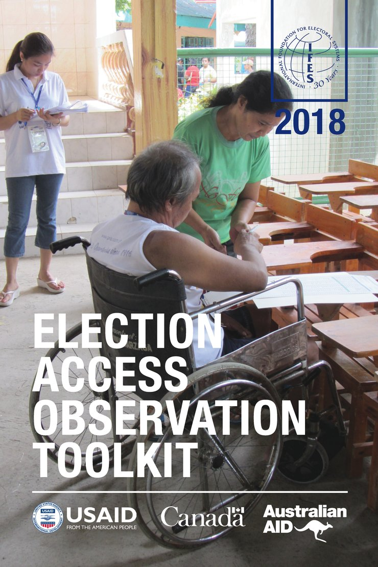 Cover of the toolkit shows a woman assisting a man in a wheelchair with another woman standing behind them