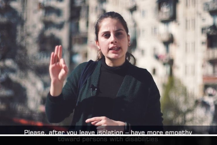 Screenshot from the PSA video produced by IFES featuring Tatia Datashvili, a young woman sign language user in Georgia.