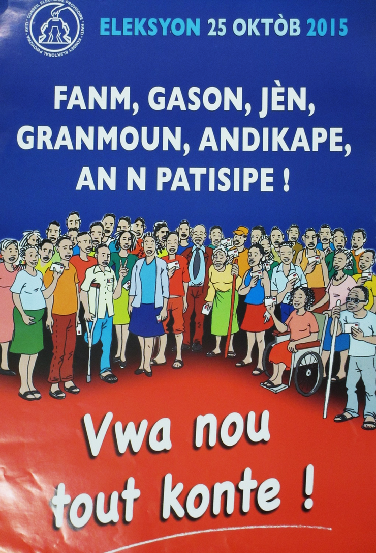 A crowd of smiling people is shown, including men and women with disabilities