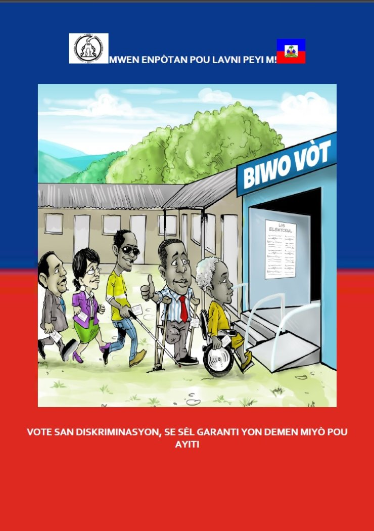 Persons with different types of disabilities stand in a line for a polling station