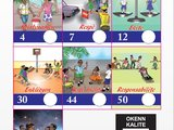 A ballot has seven squares with pictures that have words in Haitian Creole