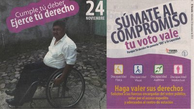On the left of a newspaper ad is a photo of a man using a wheelchair. On the right is voting information and four international figures featuring persons with a physical, visual, auditory or intellectual disability.