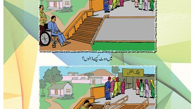 The top illustration shows a man using a wheelchair stuck in front of stairs. The bottom shows the same man using a ramp.