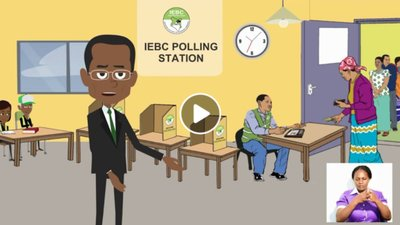 A cartoon man stands in a polling station. There is an inset sign language interpreter