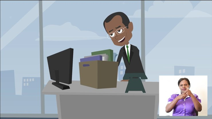 A cartoon man stands by a desk. There is an inset sign language interpreter