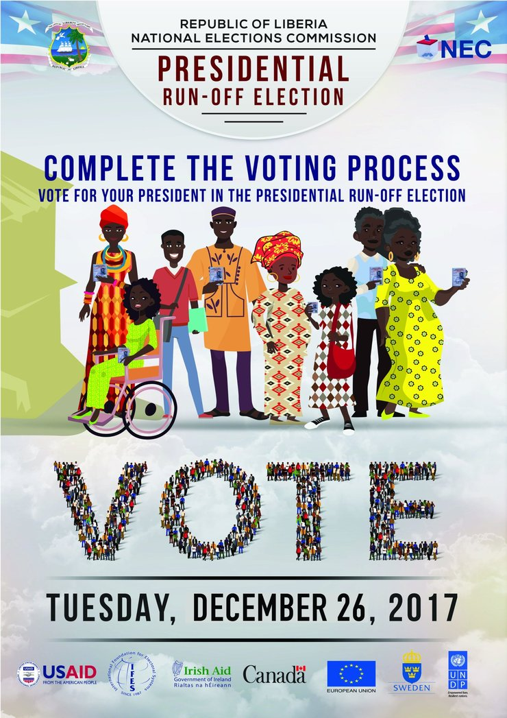 "Complete the Voting Process: Vote for your president in the presidential run-off elections. A group of women and men with and without disabilities hold ID cards. The word ""vote"" is spelled with many tiny cartoon people. Tuesday, December 26, 2017"