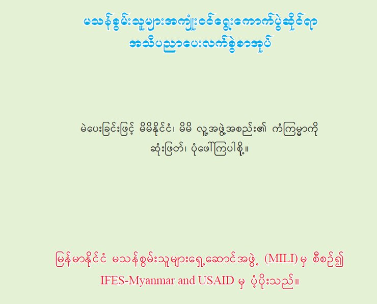 The front cover is a pale mint green, with blue Burmese writing at the top, black text in the middle, and red Burmese text below.