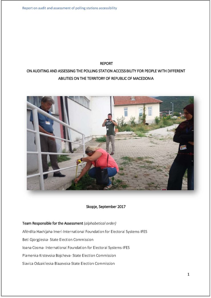 Cover of the Report on Auditing and Assessing the Polling Station Accessibility for People with Different Abilities on the Territory of Republic of Macedonia