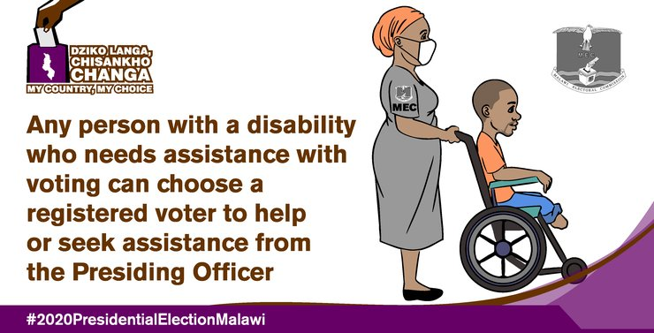 Voter education poster from Malawi which reads: Any person with a disability who needs assistance voting can choose a registered voter to help or seek assistance from the Presiding Officer.