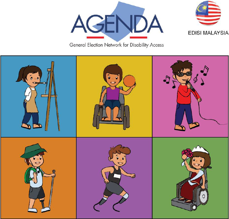 Malaysia AGENDA logo with cartoon images of persons with different disability types