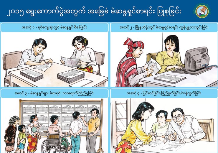 Four illustrated boxes show men and women preparing to vote. One box shows a man using a wheelchair looking for his name on the voter's list.