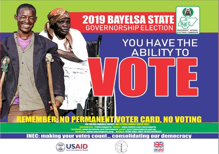 Inclusive voter education poster which shows a man voter using crutches and a woman voter using a wheelchair.