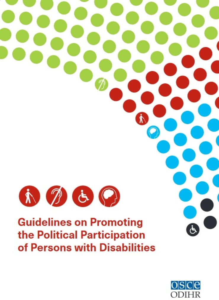 Cover of the guidelines has dots with multiple colors and disability symbols