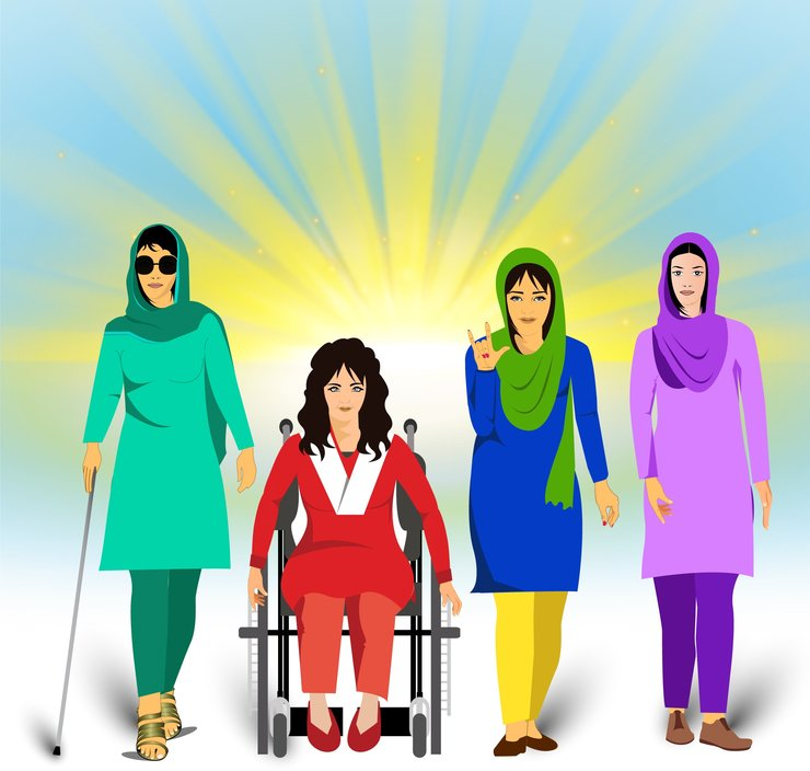 A drawing of women with different types of disabilities standing together