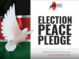 Peace dove flies next to sign that says Election Peace Pledge