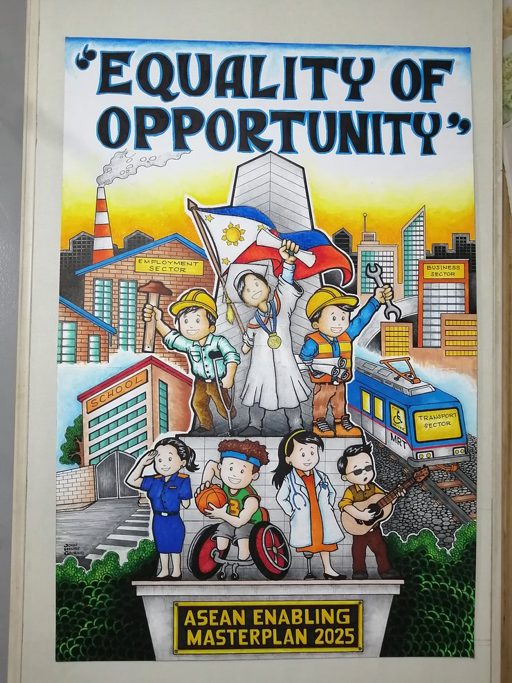 """A poster shows young people with disabilities standing together over the ASEAN Enabling Masterplan. There are sectors mentioned, including a train that says """"transport""""."""