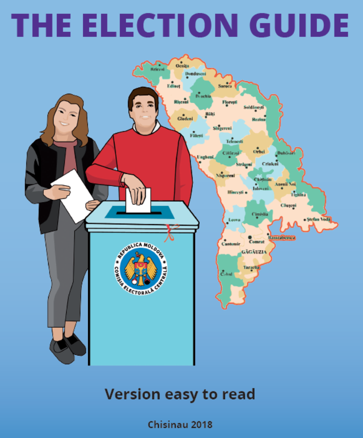Animated male and female place their votes in a ballot box, with a map of Moldova behind them