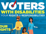 "Screenshot of Poster named ""Voters with Disabilities Rights & Responsibilities"" with three voters on the front and text stating, ""your rights."""