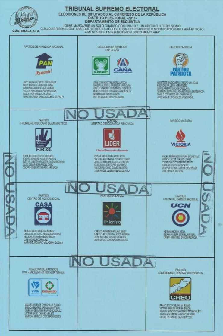 "A blue ballots contains a grid of 12 squares. One of the squares is empty, but the other 11 show the logos of political parties, such as a house (""Casa""), a fist in the air, or a flame."