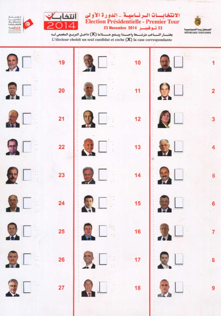"At the top it says ""Presidential Election"" in both Arabic and French. Below are three columns, each with photos of 9 candidates. A square hole is to the right of each person, and then their name in Braille. It is a folder that a ballot can slide into."