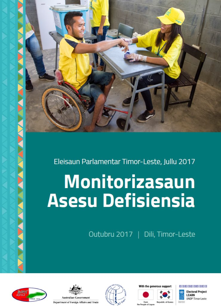 The report cover shows a photo of a man using a wheelchair casting a ballot