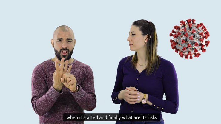 Screenshot from the PSA video produced by IFES in Tunisian Sign Language to explain the impacts of COVID-19 to Deaf Tunisians.