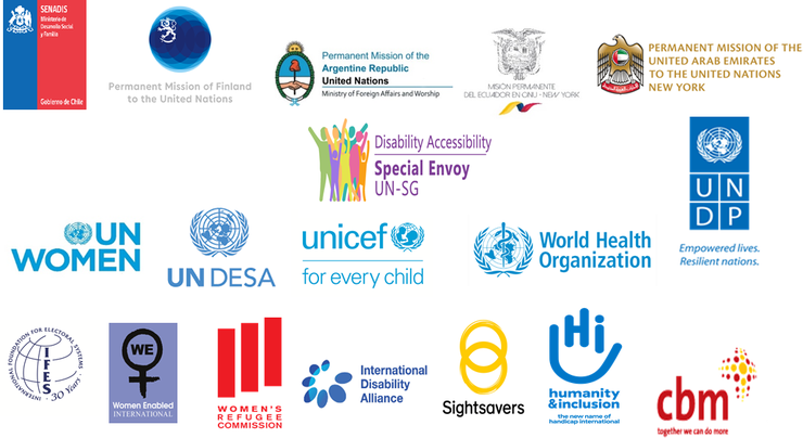 Organizational logos of IFES, UN Women and others.