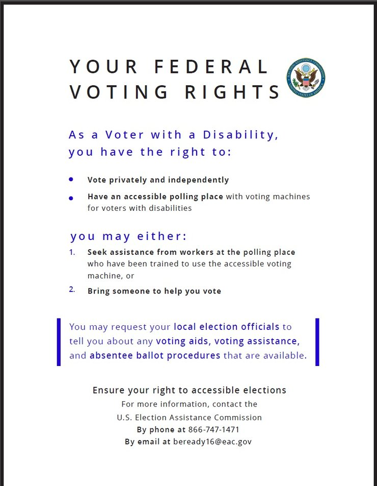 The card lists rights of voters with disabilities.